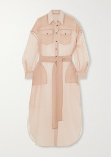 Brunello Cucinelli Bead-embellished Silk-chiffon Shirt Dress