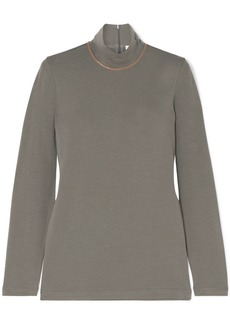 Brunello Cucinelli Bead-embellished Stretch-cotton Jersey Turtleneck Top