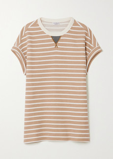 Brunello Cucinelli Bead-embellished Striped Cotton-jersey T-shirt