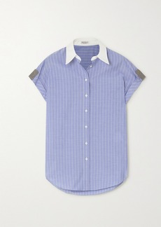 Brunello Cucinelli Bead-embellished Striped Cotton-poplin Shirt
