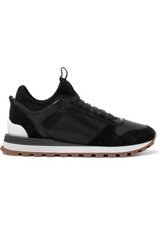 Brunello Cucinelli Bead-embellished Suede, Leather, Mesh And Neoprene Sneakers