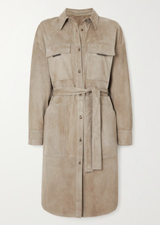 Brunello Cucinelli Bead-embellished Suede Trench Coat