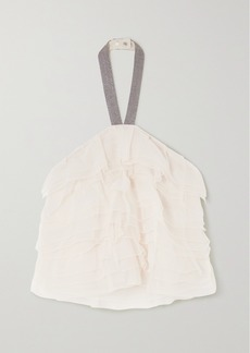 Brunello Cucinelli Bead-embellished Tiered Silk-chiffon Halterneck Top