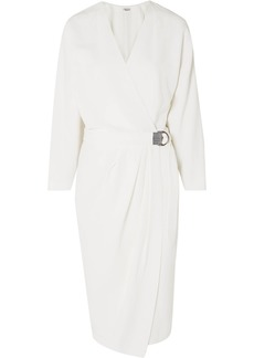 Brunello Cucinelli Beaded Belted Crepe Wrap Dress