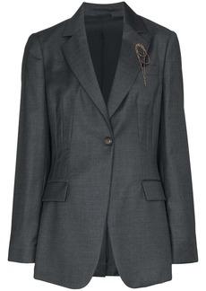 Brunello Cucinelli beaded-brooch blazer