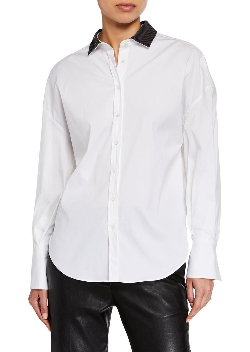 Brunello Cucinelli Beaded Collar Button-Front Shirt