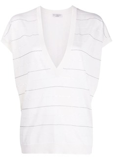 Brunello Cucinelli beaded detail knitted top