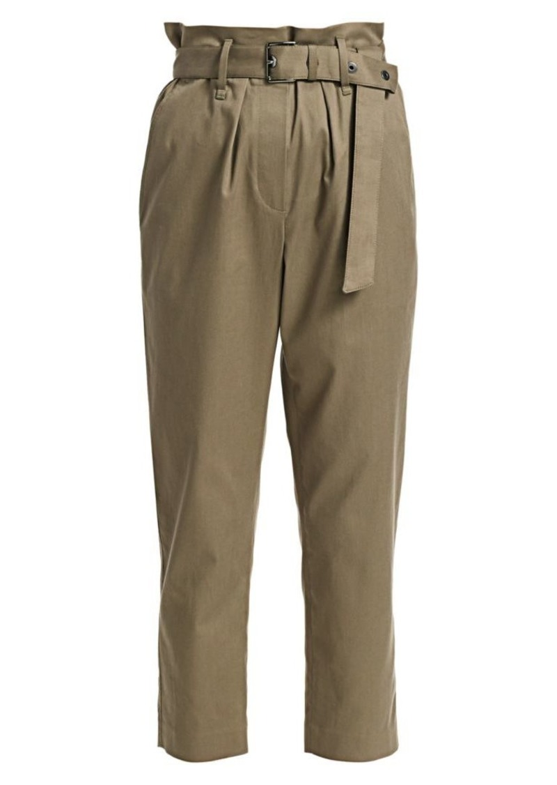Brunello Cucinelli Belted & Cropped Stretch Cotton Twill Paperbag Pants