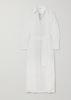 Brunello Cucinelli Belted Bead-embellished Cotton-poplin Midi Shirt Dress