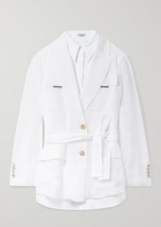 Brunello Cucinelli Belted Bead-embellished Silk And Linen Jacket