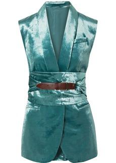 Brunello Cucinelli Belted Cotton-blend Velvet Vest