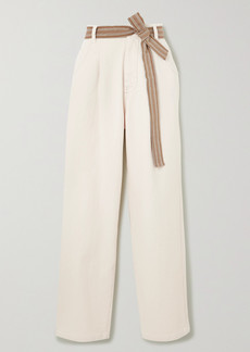 Brunello Cucinelli Belted Cotton-blend Wide-leg Pants