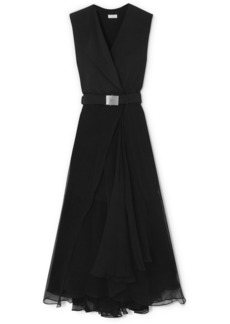 Brunello Cucinelli Belted Crepe And Chiffon Maxi Dress
