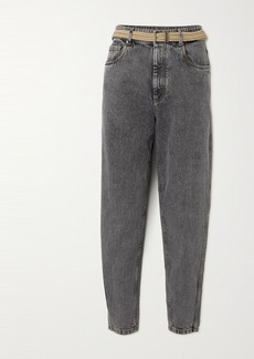 Brunello Cucinelli Belted Cropped High-rise Tapered Jeans