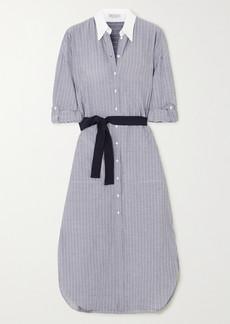 Brunello Cucinelli Belted Pinstriped Cotton-poplin Midi Dress