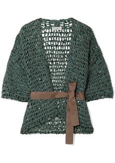 Brunello Cucinelli Belted Sequin-embellished Open-knit Cardigan