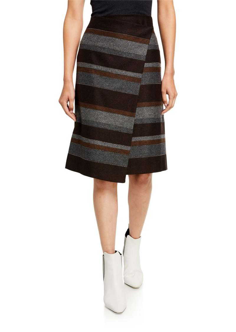 Brunello Cucinelli Blanket-Striped Skirt