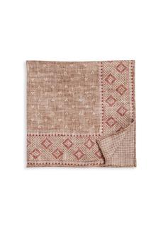 Brunello Cucinelli Border Print Silk Pocket Square