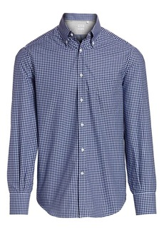 Brunello Cucinelli Box Print Button-Down Shirt