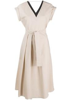 Brunello Cucinelli brass-embellished flared dress