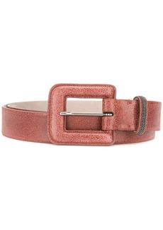 Brunello Cucinelli brass-embellished square-buckle belt