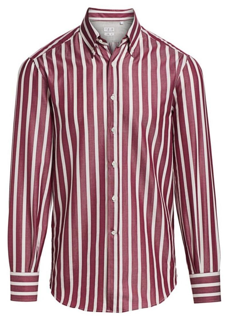 Brunello Cucinelli Broad Stripe Button-Down Shirt