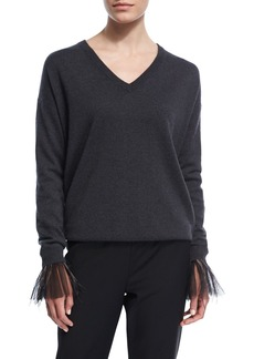 Brunello Cucinelli 2-Ply Cashmere Sweater w/Tulle Feather Cuffs