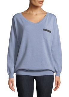 Brunello Cucinelli 2-Ply Cashmere V-Neck Sweater w/ Monili Trim