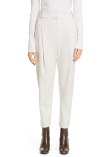 Brunello Cucinelli Angled Pleat Wool Blend Gabardine Pants