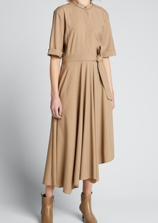 Brunello Cucinelli Asymmetric Banded-Collar Belted Wool Dress