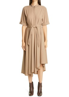 Brunello Cucinelli Asymmetrical Hem Wool Shirtdress