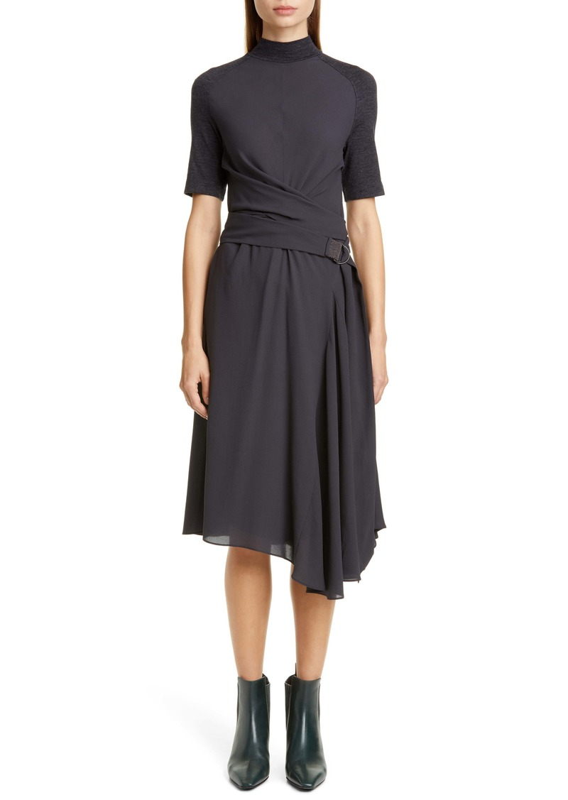 Brunello Cucinelli Asymmetrical Mixed Media Midi Dress