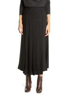 Brunello Cucinelli Asymmetrical Pleated Stretch Virgin Wool Skirt