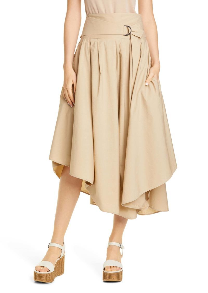 Brunello Cucinelli Asymmetrical Poplin Midi Skirt