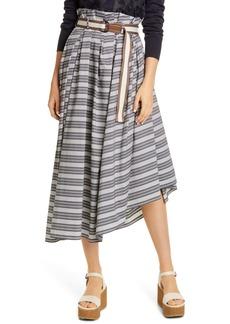 Brunello Cucinelli Asymmetrical Stripe Poplin Midi Skirt