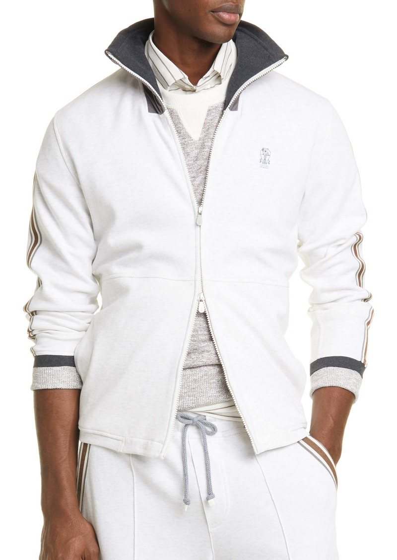 Brunello Cucinelli Athletic Stripe Track Jacket