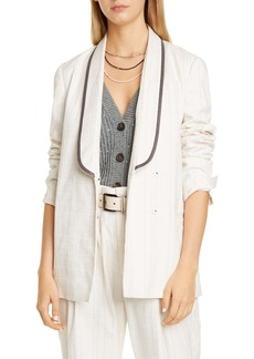 Brunello Cucinelli Beaded Lapel Belted Blazer