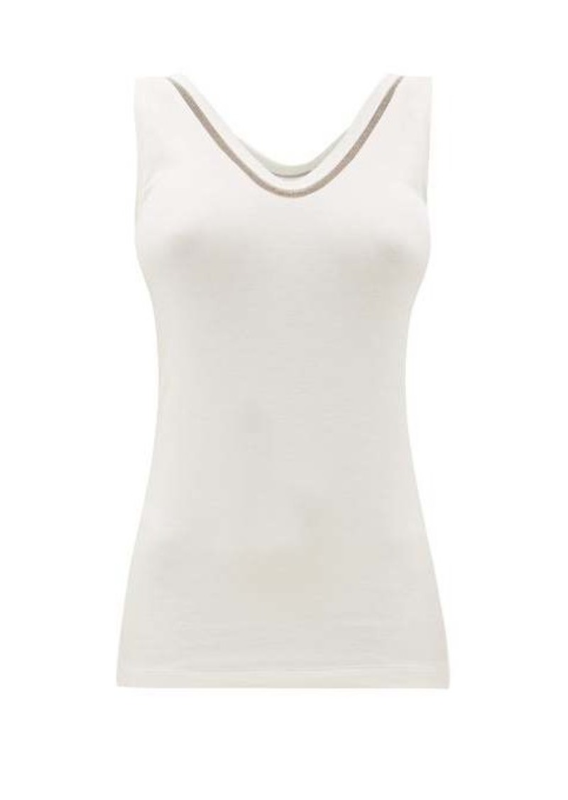 Brunello Cucinelli Beaded ribbed cotton-blend tank top