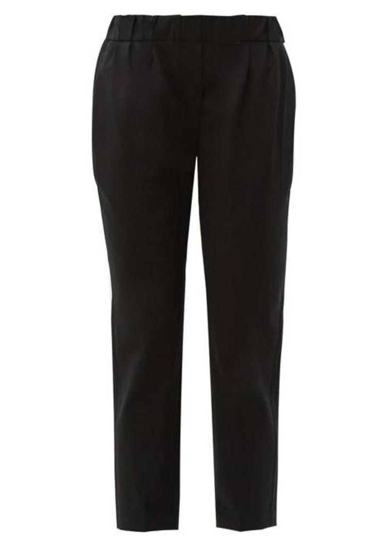 Brunello Cucinelli Beaded slim-fit wool-blend trousers