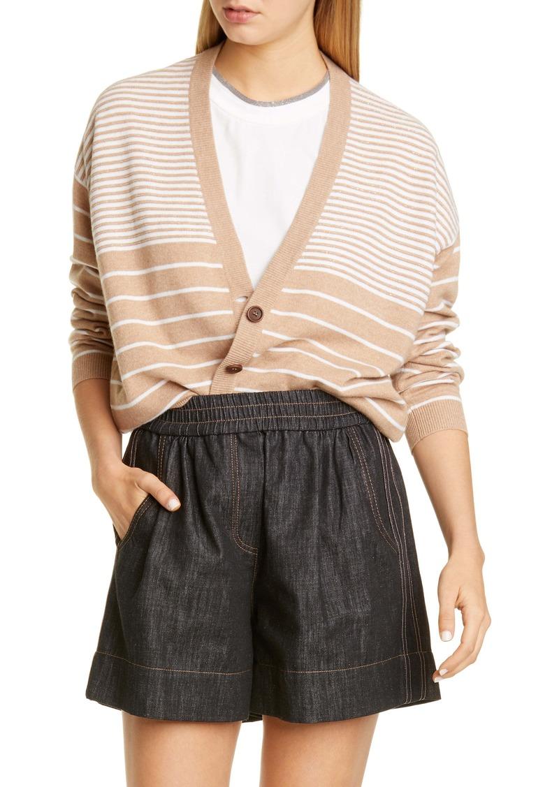 Brunello Cucinelli Beaded Stripe Wool, Cashmere & Silk Cardigan