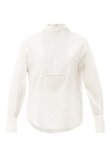 Brunello Cucinelli Beaded-yoke silk-blend blouse