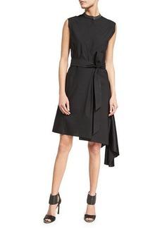 Brunello Cucinelli Belted Asymmetric-Hem Shirtdress