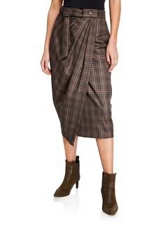 Brunello Cucinelli Belted Check Fluid Faux-Wrap Skirt