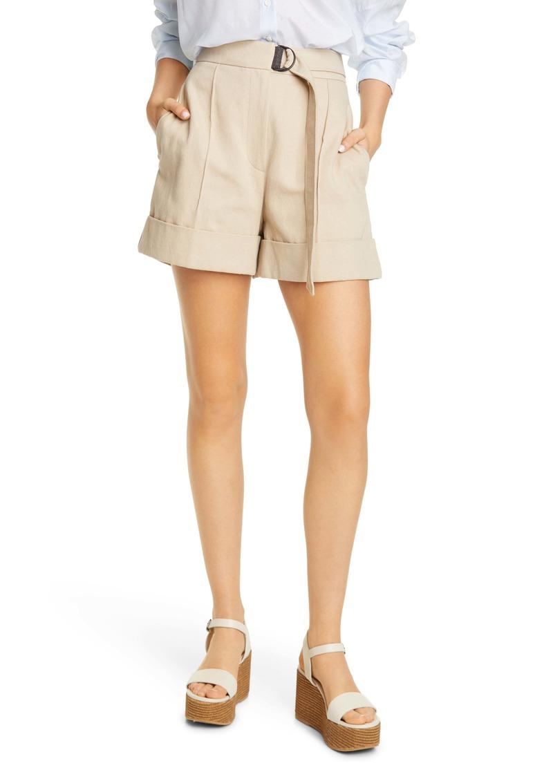 Brunello Cucinelli Belted Cotton & Linen Denim Shorts