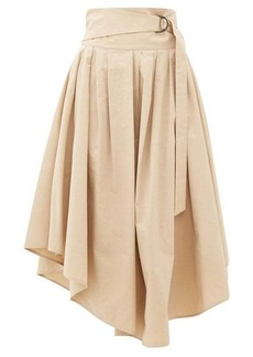 Brunello Cucinelli Belted cotton-poplin midi skirt
