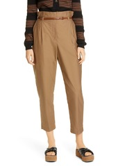 Brunello Cucinelli Belted Crinkled Cotton Blend Crop Pants