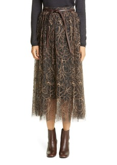 Brunello Cucinelli Belted Floral Embroidered Tulle Midi Skirt