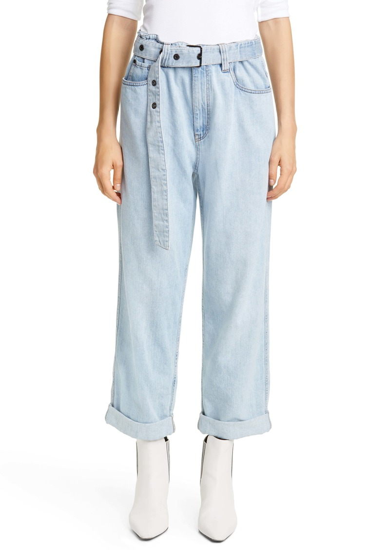 Brunello Cucinelli Belted High Waist Relaxed Straight Leg Jeans