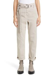 Brunello Cucinelli Belted High Waist Straight Leg Jeans