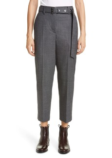 Brunello Cucinelli Belted Houndstooth Wool Ankle Pants
